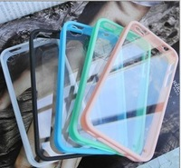 Wholesale 10pcs/lot 9color t bumper clear back case for iphone 4 4s 5 5s protective case for iphone free shipping