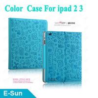 Color Cute Lovely Cartoon Design Magic Girl Smart Cover Stand Case  for new iPad 4 iPad 3 iPad 2  Free Shipping