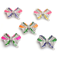 Free Shipping 6 Color 33*32MM Butterfly Rhinestone Alloy Charms Beads High Quality For DIY Jewelry Findings 20pcs/lot