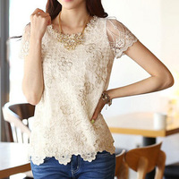 Summer plus size lace chiffon blouse blouses for women tops 2014 ladies t shirt D0009
