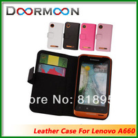 High quality flip leather case for Lenovo A660,100% Real Droomoon cowhide leather cover,Free shipping+Screen Protector