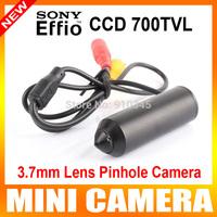 "1/3"" Sony Effio-e CCD 700TVL 3.7mm Lens Mini Wired Pinhole Bullet cctv Camera With Bracket Color Black for 960h dvr"