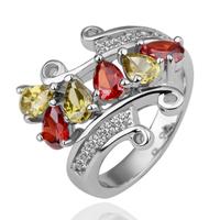Luxury Zircon Fashion 18K White Gold Ring Rhinestone Korea Women Style Free Shipping
