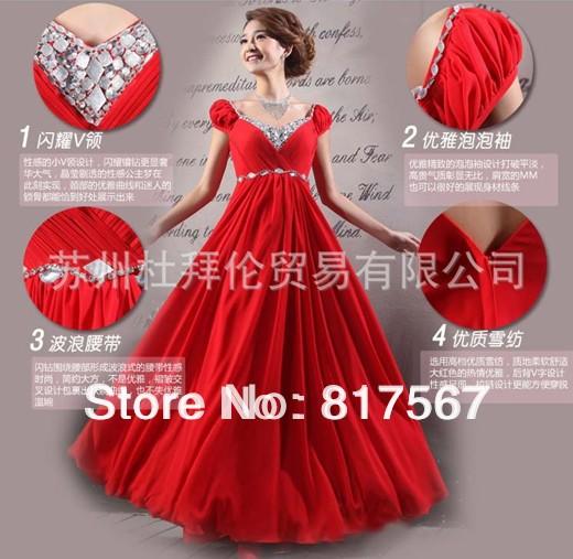 Best-seller! Chiffon frisado bridemaids baratos plissado com decote em V A-line longo vestido estilo(China (Mainland))