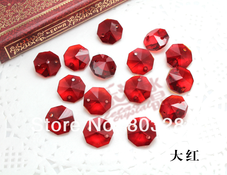 AAA grade crystal octagon beads crystal curtain crystal lamp bead # 14 red octagon beads(China (Mainland))