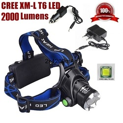 CREE XM-L XML T6 LED 1600 Lumens Rechargeable Zoom Headlight LED Headlamp CREE For 2x18650 Battery(not include) + Charger(China (Mainland))