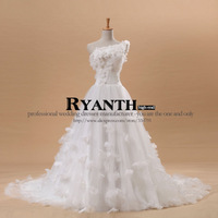 2013 hot selling  one shoulder sweetheart princess organza train lace up sleeveless wedding dress free shipping