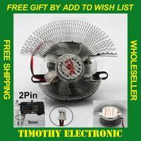 HOT SALE FREE SHIPPING 2PIN 55mm Aluminum Mounting PC VGA Video Card Cooling Cooler Heatsink Mute Fan 1PC