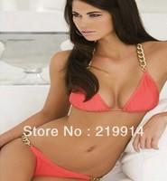 promotion Free shipping Summer Chain Halter Bikini Set Pink Women Sexy Swimwear Fashion Beachwear