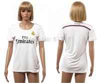 14/15 Real Madrid home white football jersey #7 Ronaldo girl's soccer kits #11 BALE women's thai quality shirt female sportswear