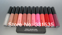 3pcs/lot  high quality cheap fasion professional  brand makeup lipgloss ,cute pink lip gloss red 12 color free shipping