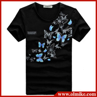 2013 the most popular beautiful butterfly Printed T-shirts for man slim fit  solid color cotton t shirt Asia size S-XXL