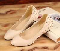 Rivet rhinestone shallow mouth small wedges single shoes flat pointed toe shoes female hot-selling 2013 work shoes beige black
