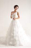 Special new style shoulder wedding Korean Princess personality flowers wedding dress
