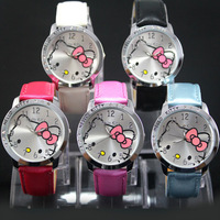 Wholesale 6 Colors Luxury Brand Hello kitty Ladies Fashion Leather Crystal Watch Women's Girls Quartz Dress Watches Wristwatch