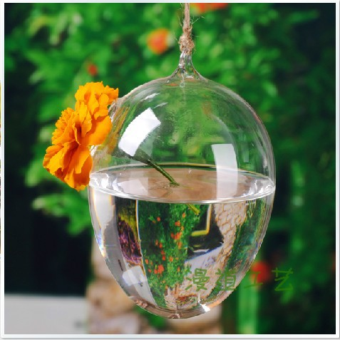 free shipping egg-shaped Hanging Clear Glass Terrarium Air Plant Tea Light Candle Holder Home Garden(China (Mainland))