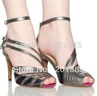 2013 New Ladies Black Satin Grey Leather Straps Ballroom Latin Samba Salsa Dancing Shoes Sale