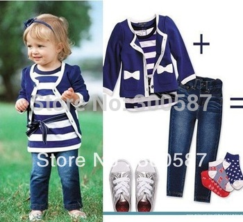 Retail- 2013 baby girl sets three-piece dress(top+t shirt+jeans) 5sizes,child clothes set,infant tee shirt+coat+jeans, 1set/lot