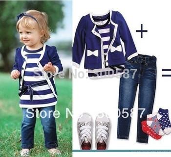 Retail- 2015 baby girl sets three-piece suit (top+t shirt+jeans) 5sizes,child clothes set,infant tee shirt+coat+jeans, 1set/lot