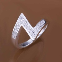 Free Shipping 925 Sterling Silver Jewelry Ring Fine Fashion Silver Plated Zircon Women&Men Finger Ring Top Quality SMTR154