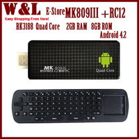 Free shipping MK809III RC12 rk3188 quad core android tv stick box 2GB RAM 8GB ROM mk android 4.2 A9 TV BOX