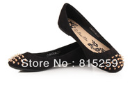 2013 new product women's flats spring and autumn Europe and America rivets flat shoes British round flat hot selling size37-41
