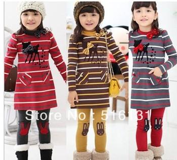 5sets/lot 2013 Autumn character deer new girl 2pcs striped dress + pants clothing set girl suits