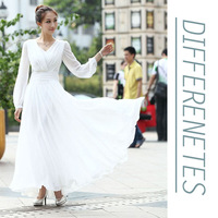 Free Shipping 2013 A-line Evening Dresses Sexy V-neck chiffon full long sleeve Long prom party pageant Special Occasion gown