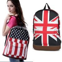 Promotion!!!3Pcs/Lot 2014 Hot Sale Unisex Punk School Book Campus Packbag UK/USA Flag Canvas Backpack