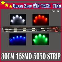 Free Shipping 20pcs/Lot car led strip waterproof 30cm 5050 15SMD LED White light Led Day Driving Light