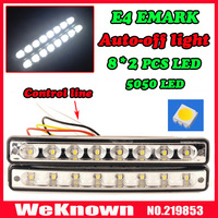 Universal 100% waterproof  E MARK 16pcs 5050 LED Car  DRL Driving Daytime Running Light  with Automatic switch on/off