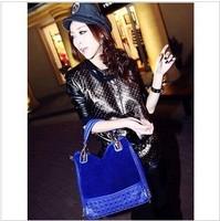 2013 new rivet package stitching flannel bag shoulder bag brand fashion handbag Free Shipping Rivet Studded Messenger Bag