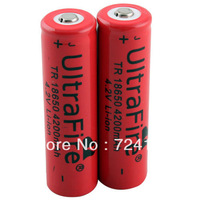 2PCS UltraFire 18650 4200mAh 4.2V Rechargeable Lithium Battery Red    #20919