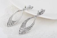 Free shipping ! High Quality ! Rhodium  fashion Metal Rhinestones Clip Earrings