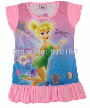 Wholesale 4pcs/lot baby gilrs pajamas cartoon tinkerbell summer pyjamas Children nightgown/kids sleepwears tinker bell dress