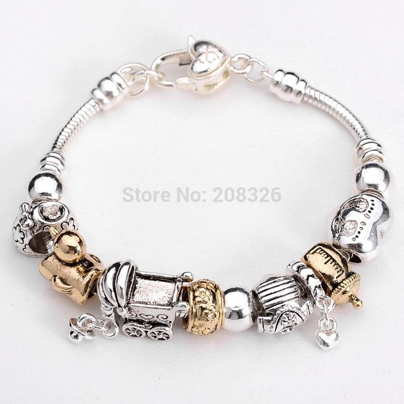 Hot Free Shipping European Beads PAN Bracelet 925 Silver jewelry charm Charmilia bracelet silver Love Heart