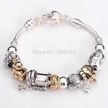 P83  Hot! Free Shipping  European Beads PAN Bracelet 925 Silver jewelry charm Charmilia bracelet silver  Love Heart bracelet
