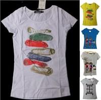 Gril Cute Cotton Tee Shirts Animal Print Bead blue Tops tshirt Moleten Peplum blusa free shipping vestidos t-shirts tees clothes