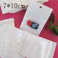 Free Shipping 4000pcs 7*10cm ZipLock White Clear Plastic Packaging Retail Hanging Bags
