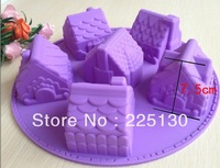 Free shipping 1PCS House Fondant Cake pan Silicone Mold Sugar craft Baking Pan Cake Decoration