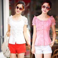 2014 summer plus size clothing lace shirt short-sleeve large size women clothing