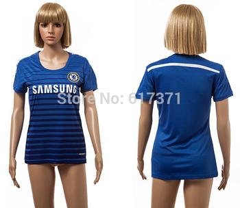 14 15 Cheslea home blue women's jerseys soccer club kit for girl new season sports uniform thai quality female football t shirt