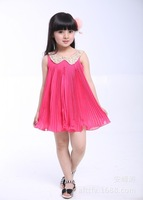 2014 new girls' dress fashion summer Sleeveless baby dress chiffon pleated Children's clothes 5pcs/lot free shipping