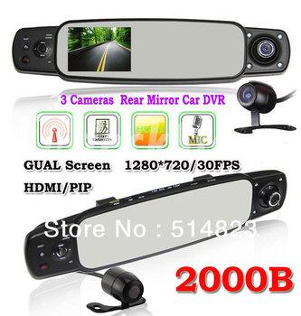 "2013 New Gen.2000B 3.0"" TFT LCD HD IR Night Vision 3 Cameras Car DVR /Dual Cameras+ Rear View Mirror Lens GPS(Optional)&G-SENSOR"