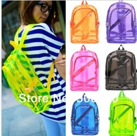 Free shipping hot-selling backpack jelly bag transparent backpack neon multicolour fashion casual backpack