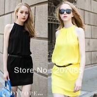 2014 Free Shipping Plus Size Candy Color Vest Chiffon Dress,Women Dress 4 colour size S,M,L,XL,XXL