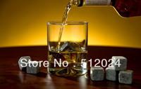 2015 hotsale 7 color Whisky Stones, 6pcs/set with velvet bag whiskey rock stone cube stone Free shipping (40set)