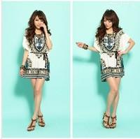 2014 New Summer Lady Fashion Dress Folk Print Bohemia Style Beach Dress