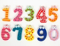 New 0-9 Figure Numbers total 10pcs Colorful Wooden Fridge Stick Magnet Baby / Children Educational Tool
