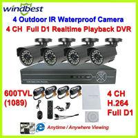 600TVL 4CH Full D1 H.264 DVR Kit Day Night Vision Weatherproof Security Camera Surveillance Video System DIY CCTV Camera System